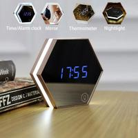 msmask Digital USB Mirror Alarm Clock Bathroom Bedroom Glass Night Light Wall Mount Table LED Lamp Makeup Mirror