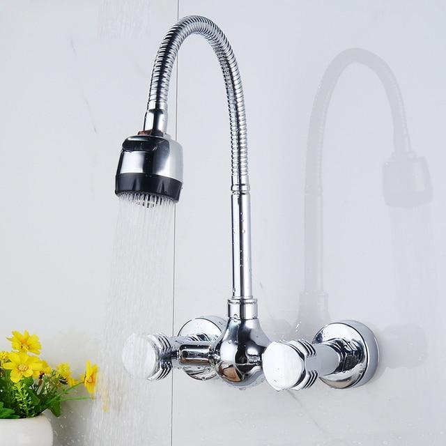 Great Ulgksd Chrome Brass Kitchen Faucet Wall Mounted Flexible Hose Sprayer Bar  Kitchen Sink Faucet Dual Holes