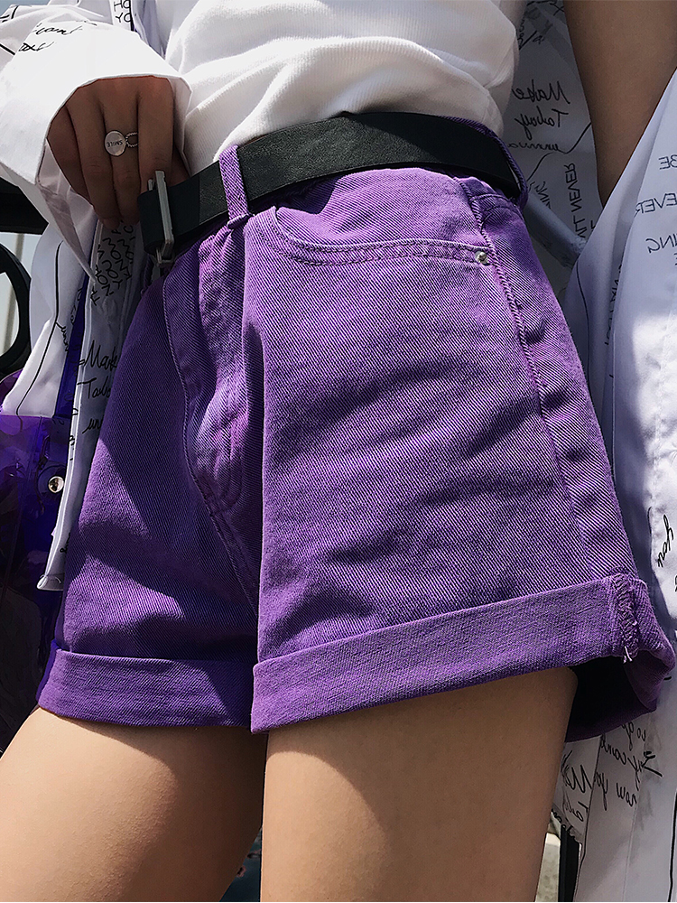 2018 new purple high waist curling hot wild thin wide leg   shorts