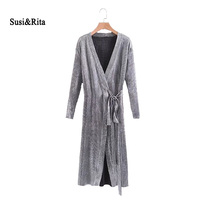 Susi Rita 2017 Autumn Silver Dress Women Vintage Long Sleeve Wrap Dress Winter Elegant Ladies Dresses