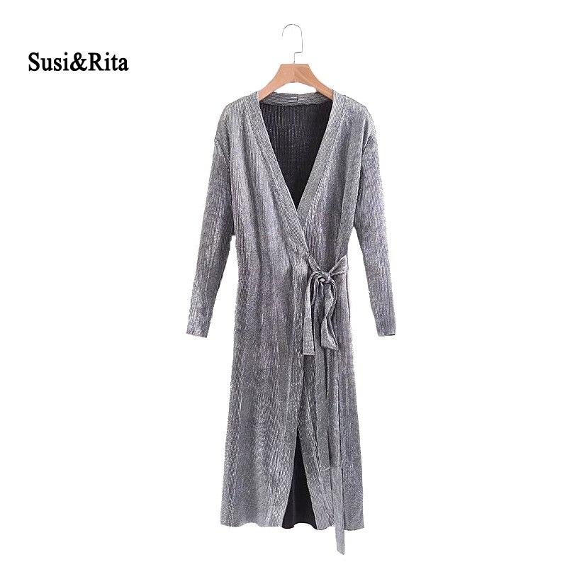 Susi & Rita 2017 Sonbahar Gümüş Elbise Kadınlar Vintage Uzun Kollu Wrap Elbise Kış Zarif Bayanlar Elbiseler Vestidos Jurken