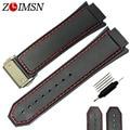 Zlimsn mens pulseiras de borracha fecho vermelho costurado preto esporte silicone watch band strap fivela de metal prata para hub bandas hub333