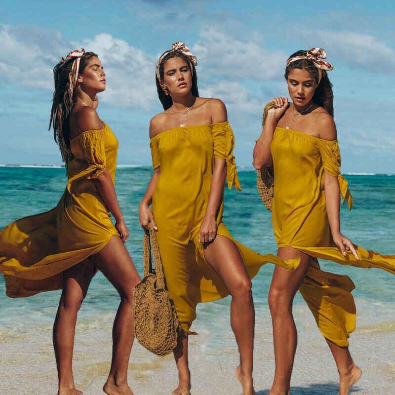Vestido de playa de túnica de mujer con hombros descubiertos Sexy, traje de baño de manga corta de color liso, vestidos de verano de playa Maxi para mujer, trajes de baño