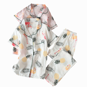 Women Pajamas Set Floral Printed Comfort Sleepwear Short Sleeve+Pants Cotton Ladies Casual Wear Thin Nightwear Comfort Homewear фото