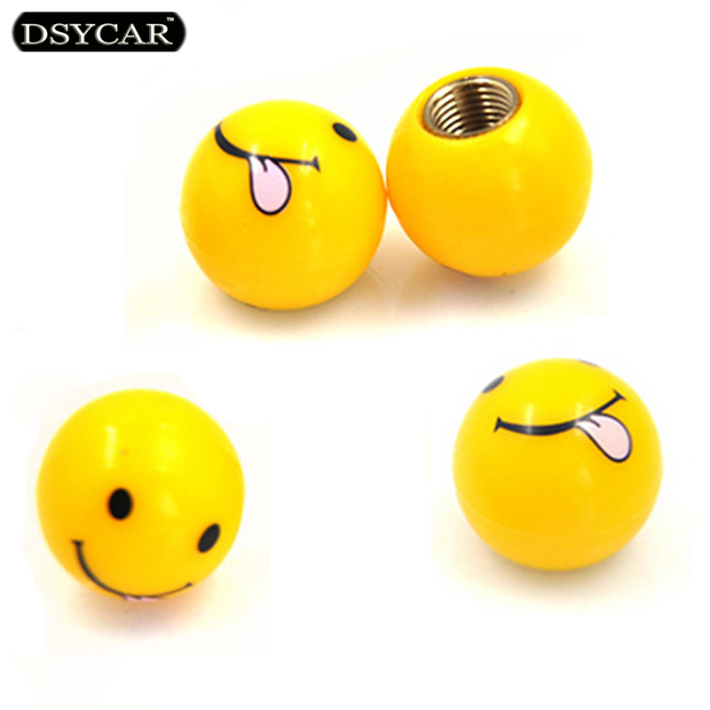 Buy DSYCAR 4pcs/lot Car Truck Motorcycle Tire Air US Valve Cap Tyres Wheel Dust Stems Smile face caps Bolt in Type Valve Car styling for only 3.2 USD
