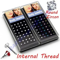 40pcs Set Wholesale 316l Surgical Steel Round Zircon Circle Stone Crystal Labret Stud Lips Piercing Bar