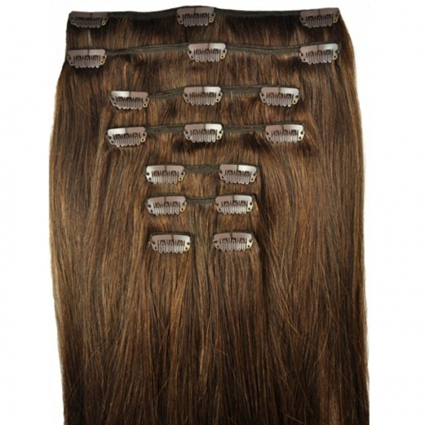 Feibin Clip In Hair Extensions Syntetiskt Hår 22inches 55 cm Long Straight Hairpiece 8st. Värmebeständigt c47