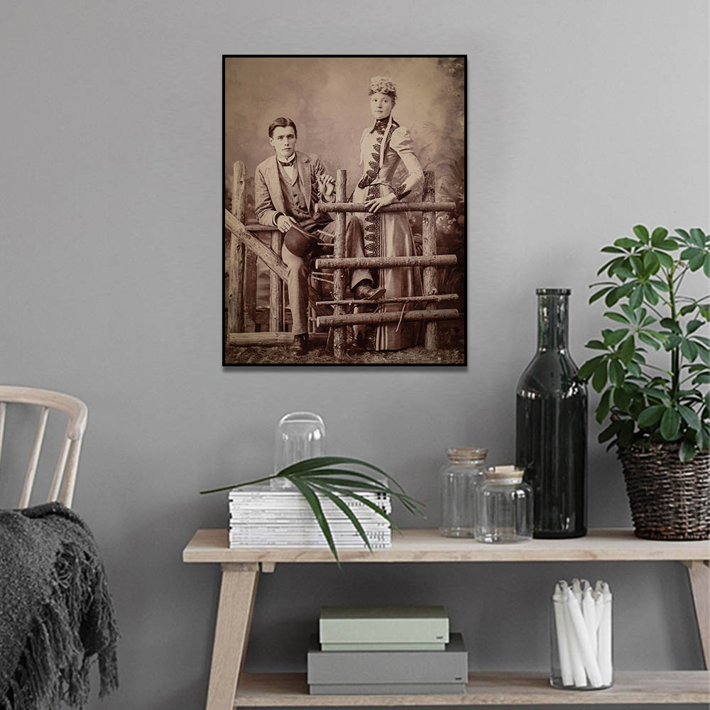 Unframed HD Canvas Prints Farm Couple Vintage Photo Prints Wall Pictures For Living Room Wall Art Decoration Dropshipping