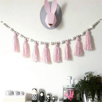 Beautiful 1.5m Kids Baby Nordic Style Wall Wooden Tassel Pearl Room On Wall Decorative Props For Kids Room Gift Nursery Decor