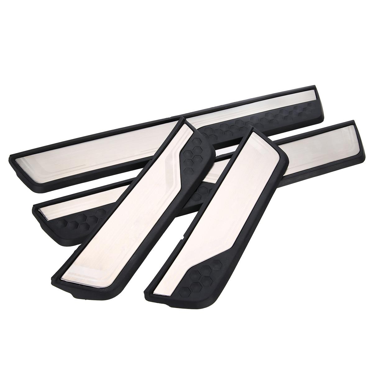 цена на Mayitr Car Accessories 4pcs Door Sill Trim Cover Plate Panel Protector Guard For Honda CR-V 2017 2018