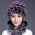 Invierno Mujeres Sombrero Pom Pom Tres Bolas de Diseño de Conejo Auténtica Sombrero de piel Gorros de Punto Hembra Invierno de la Piel Verdadera Rex Fur Caps sombreros