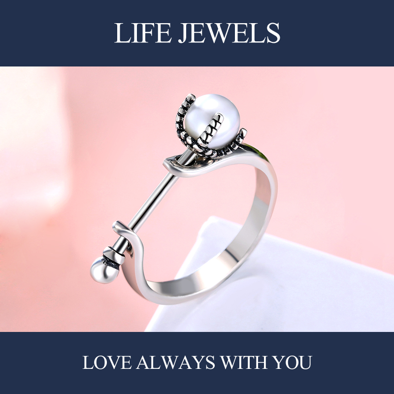 Authentic 100 925 Sterling Silver Mother Pearl Rings Charm l Women Luxury Sterling Silver Valentine 39 s Day Gift Jewelry 18142 in Rings from Jewelry amp Accessories