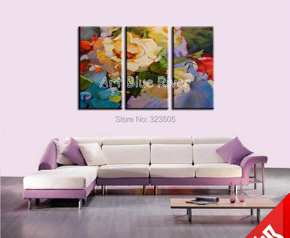 3 piece muti panel abstract canvas wall handmade font b Knife b font rose oil painting