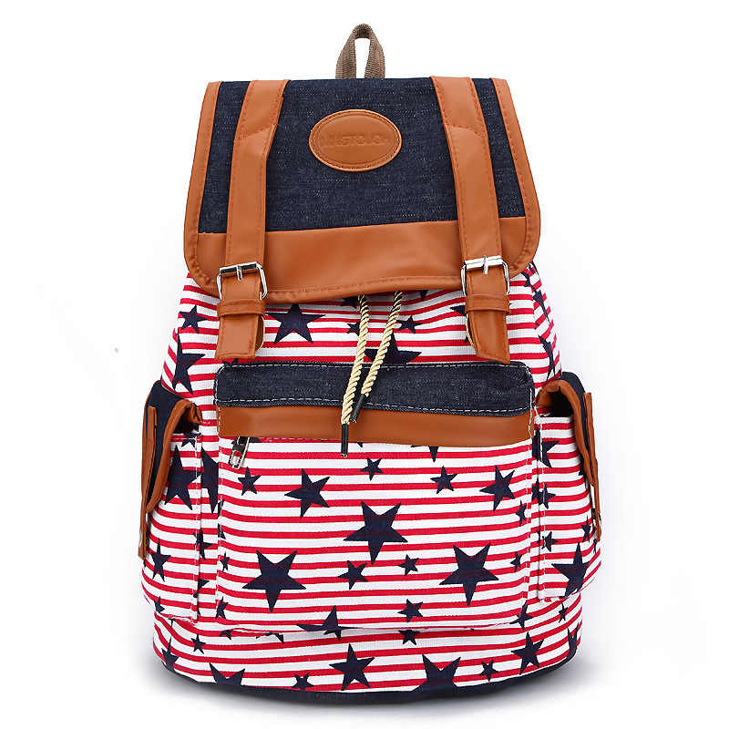 2019 fashion School Bag Bohemian Vintage Women Backpack Drawstring Printing Canvas Bagpack Sac a Dos Femme travel Rucksack