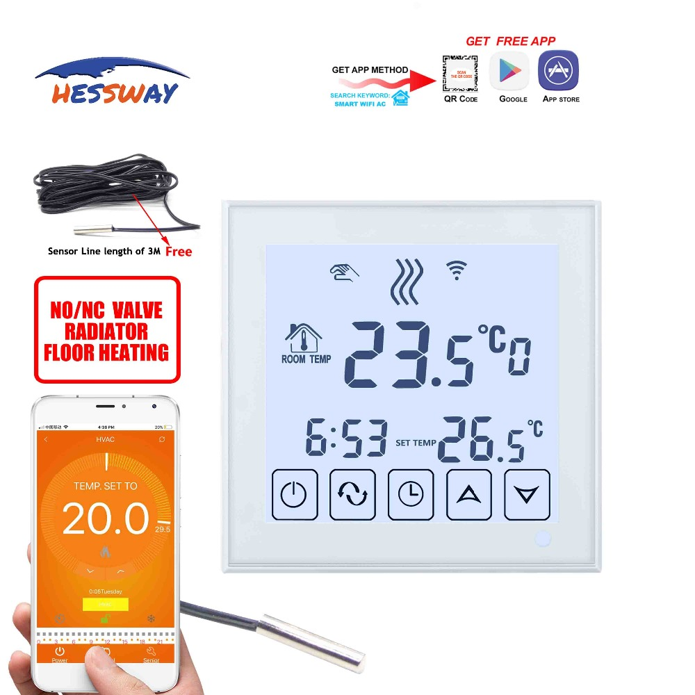 HESSWAY white Backlight WIFI 3A Weekly Programmable LCD Touch Screen THERMOSTAT Works with Alexa Google home in Laboratory Thermostatic Devices from Office School Supplies