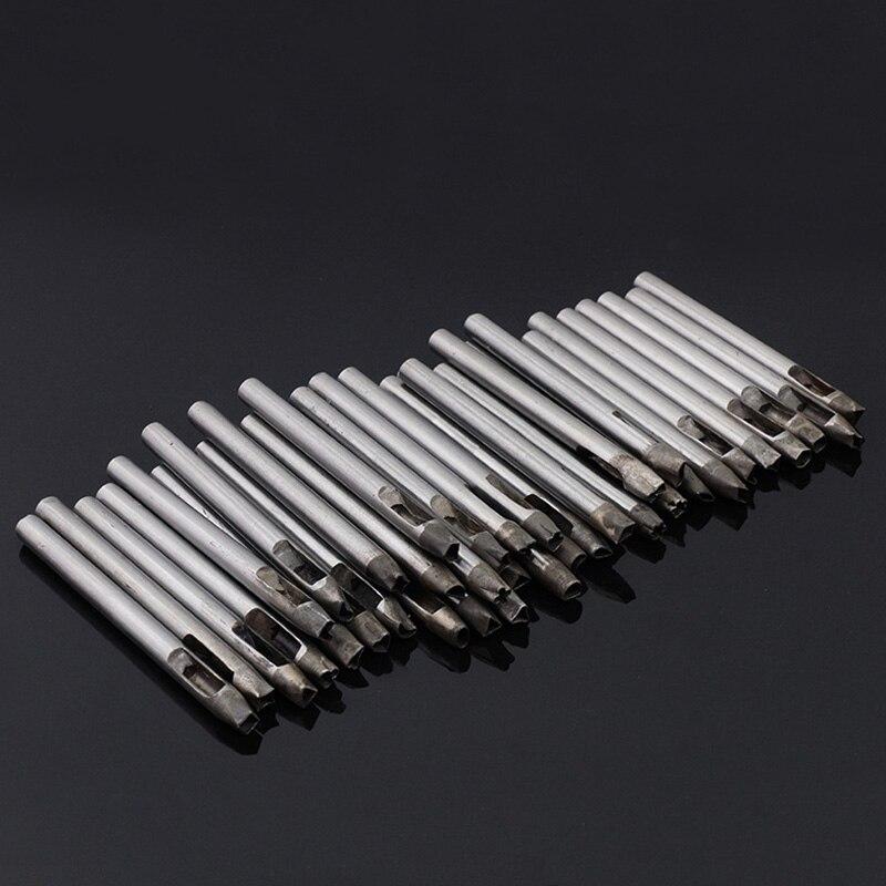 37 pièces ensemble de poinçon creux, acier fleur trou outil cuir artisanat bracelet de montre perforateur bricolage pour portefeuille ceinture décoration diverses formes 5mm - 3