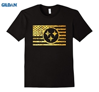Tshirt GILDAN 2018 Złoty Steeler Nation Stali nation flag t-shirt