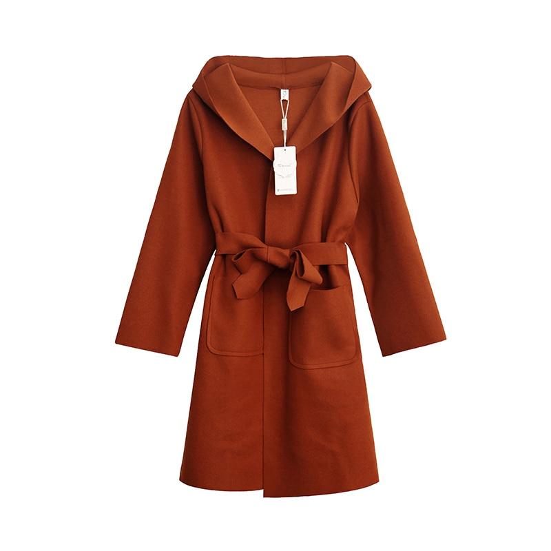Women Autumn Winter Elegent Long Cardigan Overcoat with Waistbelt Female Hooded Long Woolen Coat Casaco Manteau Femme Hiver