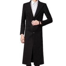 Осень зима Мужская чистый цвет моды бутик Шерсть super long шерстяная ткань пальто пыли/Мужской тонкий черный пальто Пыли куртки
