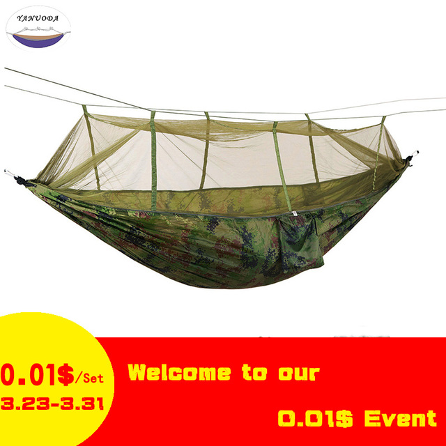 Ultralight Parachute Swing Hammock Hunting Mosquito Net Hamac Travel Double Person Hamak for Camping Outdoor Furniture Hammock