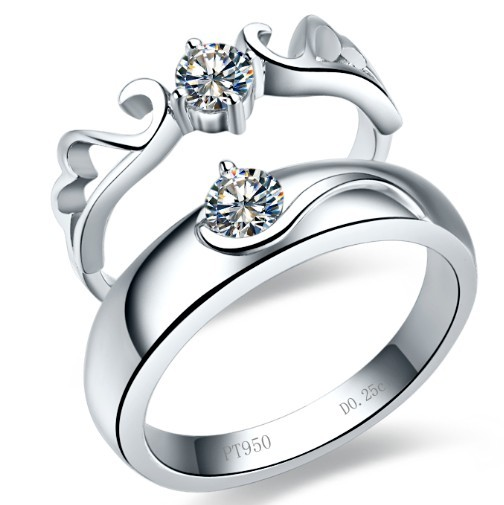 Angel Wing Solid 18K 750 White Gold Couple Ring Simulates