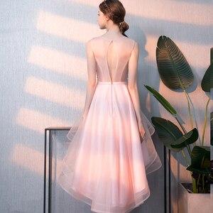 Image 3 - אלגנטי גבירותיי ללא משענת משתה שמלת ערב קצר וארוך אופנה שושבינה חתונה ורוד שמלת vestidos דה פיאסטה