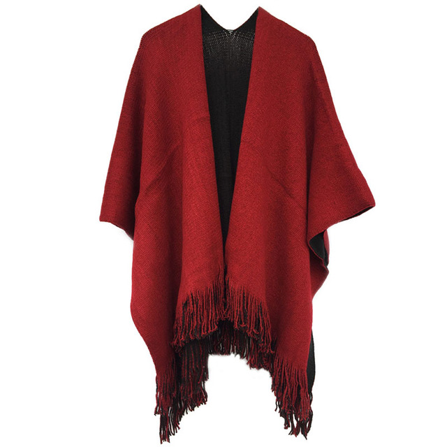 Fashion Women Winter Knitted Cashmere Scarf Blanket Oversized Reversible Wrap Shawl Tassel Poncho 4 Mixed Color