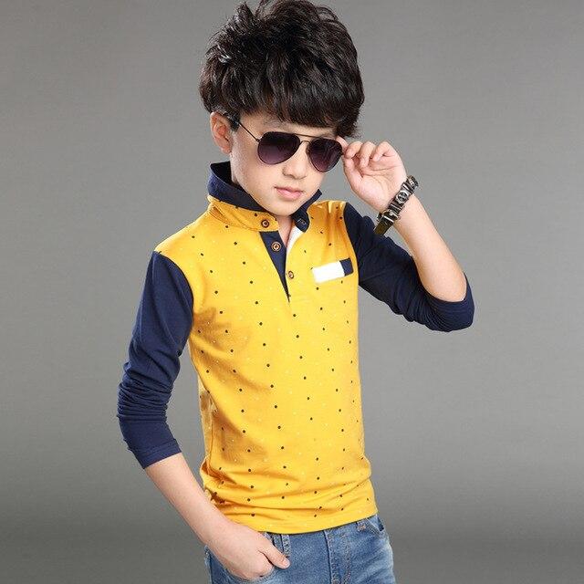 Детская майка с длинным рукавом дети рубашки поло школьная форма одежда baby boy одежда горошек лоскутное мальчиков случайные рубашка