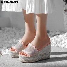 TINGHON Summer Wedge Slippers Platform High Heels Women Rhinestone Outside Shoes Fringe Wedge Slipper Flip Flop Sandals все цены