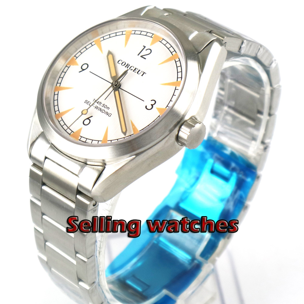 Brushed 41mm  white dial orange marks Stainless steel strap sapphire glass 21 jewels MIYOTA Automatic men  watch Brushed 41mm  white dial orange marks Stainless steel strap sapphire glass 21 jewels MIYOTA Automatic men  watch
