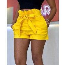 Женские модные шорты, сексуальные, открытые, с бантом, летний женский костюм с шортами, pantalones cortos de mujer#1