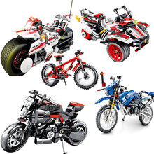 Technic Series Racing Motorcycle Bike Building Block Compatible Legoed Speed Champions Car Bricks Educational Toys For Children(China)