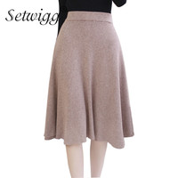 SETWIGG Women Winter Wool Knit Midi Skirt Elastic Waist Solid Warm Flare Rib Knitted Draped Knee length Autumn Skirts