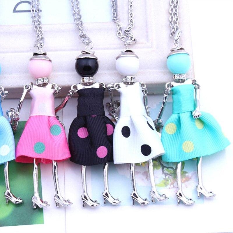 Femmes à la mode poupée mignon noir long colliers et pendentif robe chaude bébé filles maxi collier marque mode déclaration bijoux