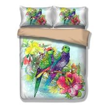 Belleza Loro Juego de Cama Amarillo Rosa ropa de Cama de flores de Peonía China Estilo de Impresión Funda Nórdica Verde pájaro Púrpura Ropa de Cama Queen