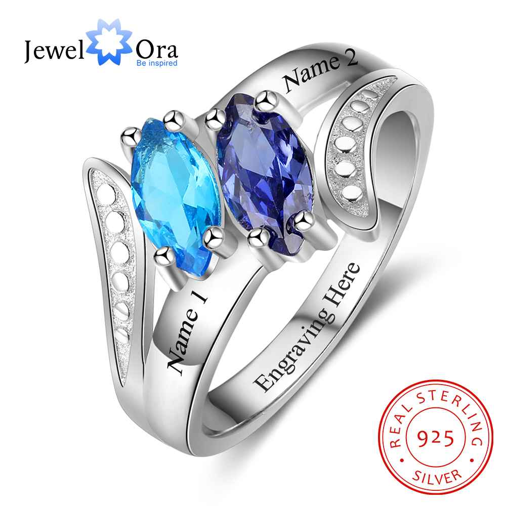 personalized heart birthstone custom engrave 2 names promise ring love 925 sterling silver anniversary gift jewelora ri103269 Personalized Birthstone Ring Custom Engrave Names Promise Rings For Women 925 Sterling Silver Jewelry (JewelOra RI103277)