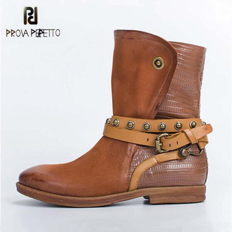 Prova Perfetto 2018 New Fashion Women Ankle Boots Straps Genuine Leather Flat Boot Autumn Winter Female Platform Botas Mujer prova perfetto winter women warm snow boots buckle straps genuine leather round toe low heel fur boots mid calf botas mujer
