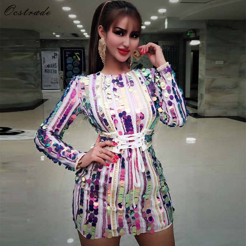 Ocstrade Colorful Round Neck Long Sleeve Mini Whole Sequined Shinning Sexy Long Sleeve Bodycon Dress for