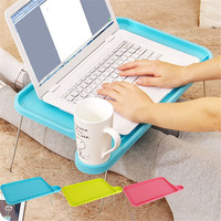 1p Portable Light Plastic Notebook Desk Laptop Table Computer Desk Stand For Bed Office Furniture Foldable