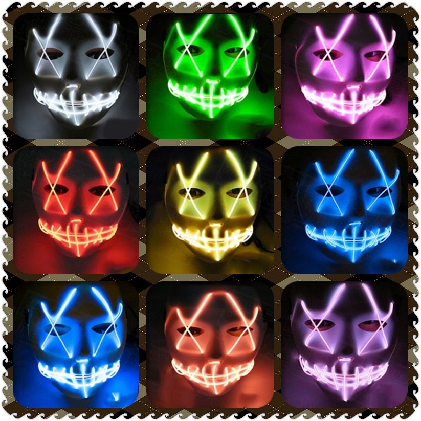 Costumes & Accessories Halloween Mask Led Masks Glow Scary Mask Light Up Cosplay Mask Glow In Dark For Festival Music Party Costume Christmas Fancy Colours
