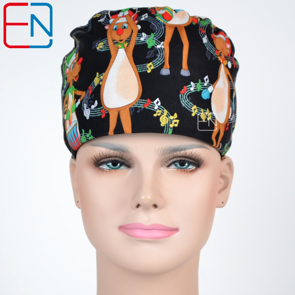 Hennar Scrubs Caps Top Brand Quality Adjustable Caps Dancing Deer Pattern Printed Medical Accessories Surgical Womens Scrub Caps