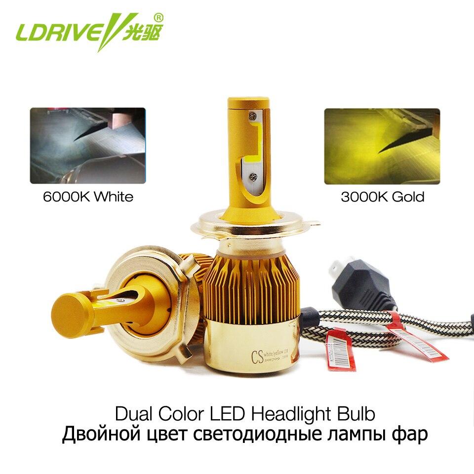 LDRIVE H4 H7 LED Headlight Bulbs H1 H3 H8 H11 HB3 HB4 LED Headlight Kit 3000K 6000K 4800LM Dual Color Car LED Light Headlamp 12V