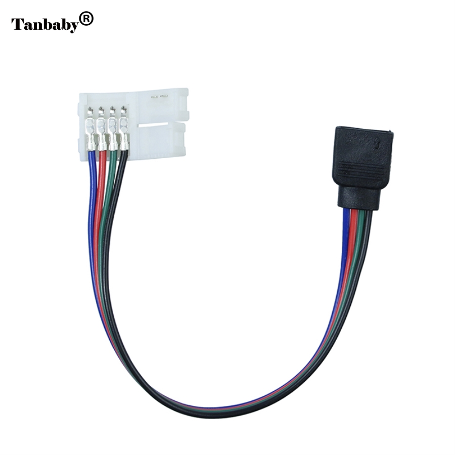 Tanbaby 10pcs/lot 4pin PVC RGB Female led strip Connector Adapter Wire Cable For SMD 5050/3528 RGB LED Strip light free shipping osiden 4 pin rgb led connector extension cable cord wire 4pin connectors 1m 2 5m 5m 30cm for smd 5050 3528 rgb led strip light
