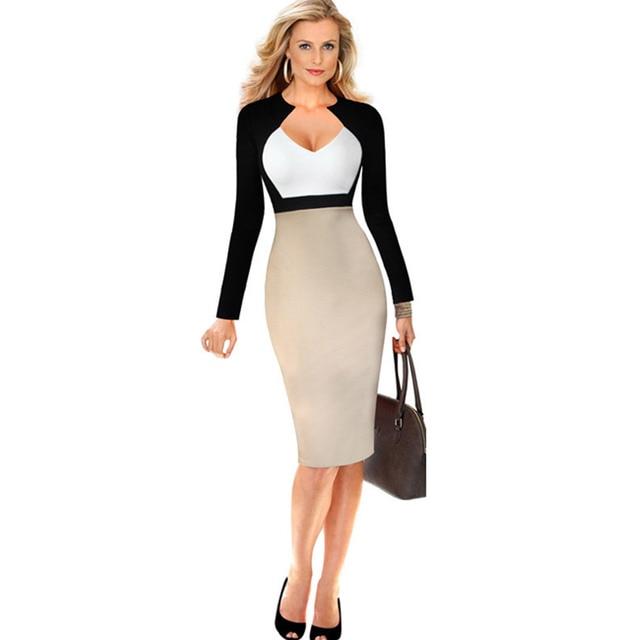 a4abd64f076 Livraison gratuite haute qualité qualité manches longues robe à la mode  femmes tendance robe de bureau