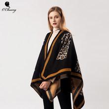 Vintage Warm Leopard poncho feminino inverno Capes For Winter Cashmere Scarf Women Oversized Shawls and Wraps Pashmina(China)