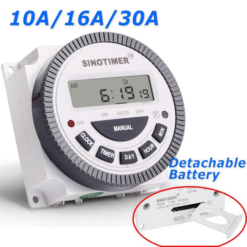 220 30A 230 V AC 7 días semanal programable tiempo relé temporizador Digital salida TM-619H-2 V voltaje desmontable tipo de batería