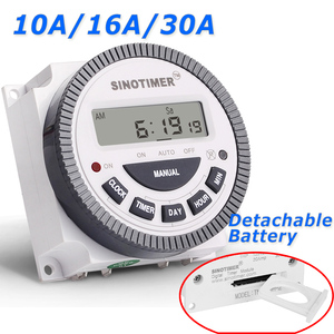 TM-619H-2 30A 230V AC 7 Days Weekly Programmable Time Relay Digital Timer Switch Output 220V Voltage Detachable Battery Type(China)