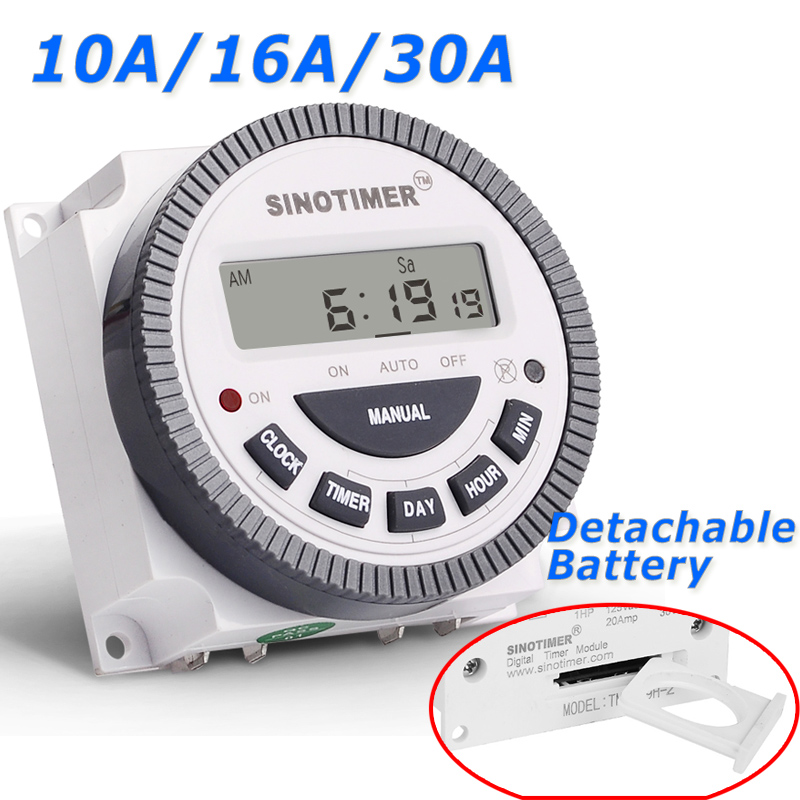 TM-619H-2 30A 230 v AC 7 Tage Wöchentlich Programmierbare Zeit Relais Digital Timer Schalter Ausgang 220 v Spannung Abnehmbare Batterie typ