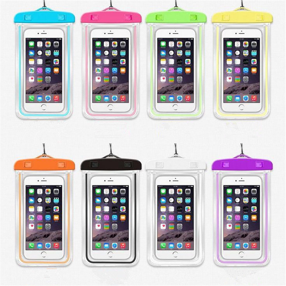 Hot Sale New Luminous Glow Waterproof Bag Pack Swimming Dry Cell Mobile Phone Pouch Covers Colorful Gift