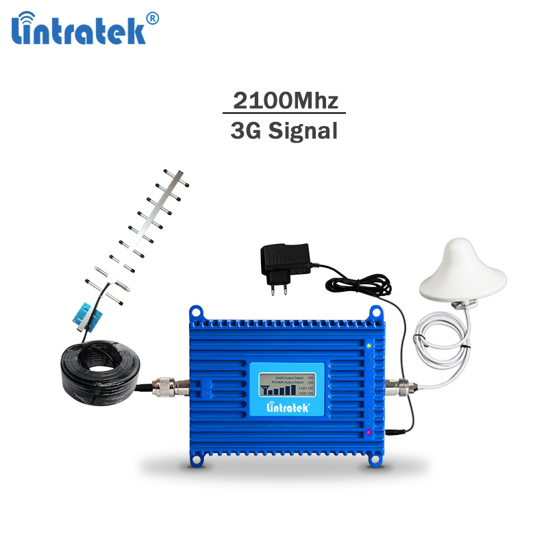 Lintratek 3G Signal Repeater WCDMA 2100 Celullar Signal Booster GSM Cellphone Repeater AGC 3G 2100 Celular Repeater Full Kit #63